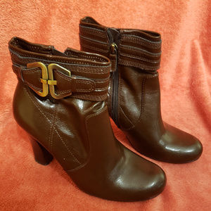 Franco Sarto Leather Brown Ankle Booties